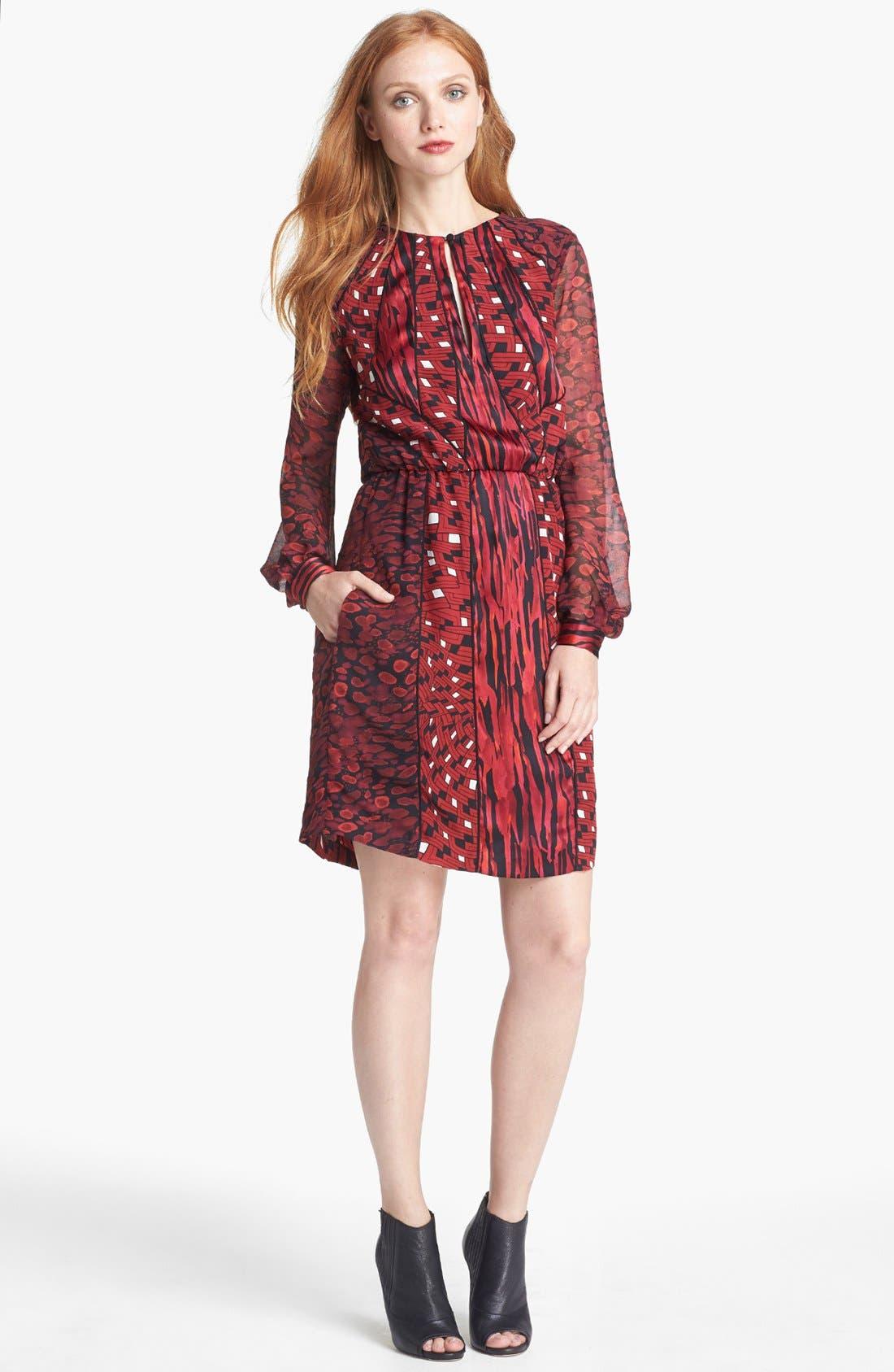 Main Image - Diane von Furstenberg 'Kit' Print Silk Blouson Dress
