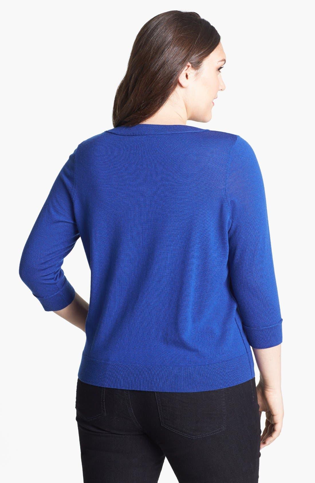 Alternate Image 2  - Halogen® Crewneck Sweater (Plus Size)