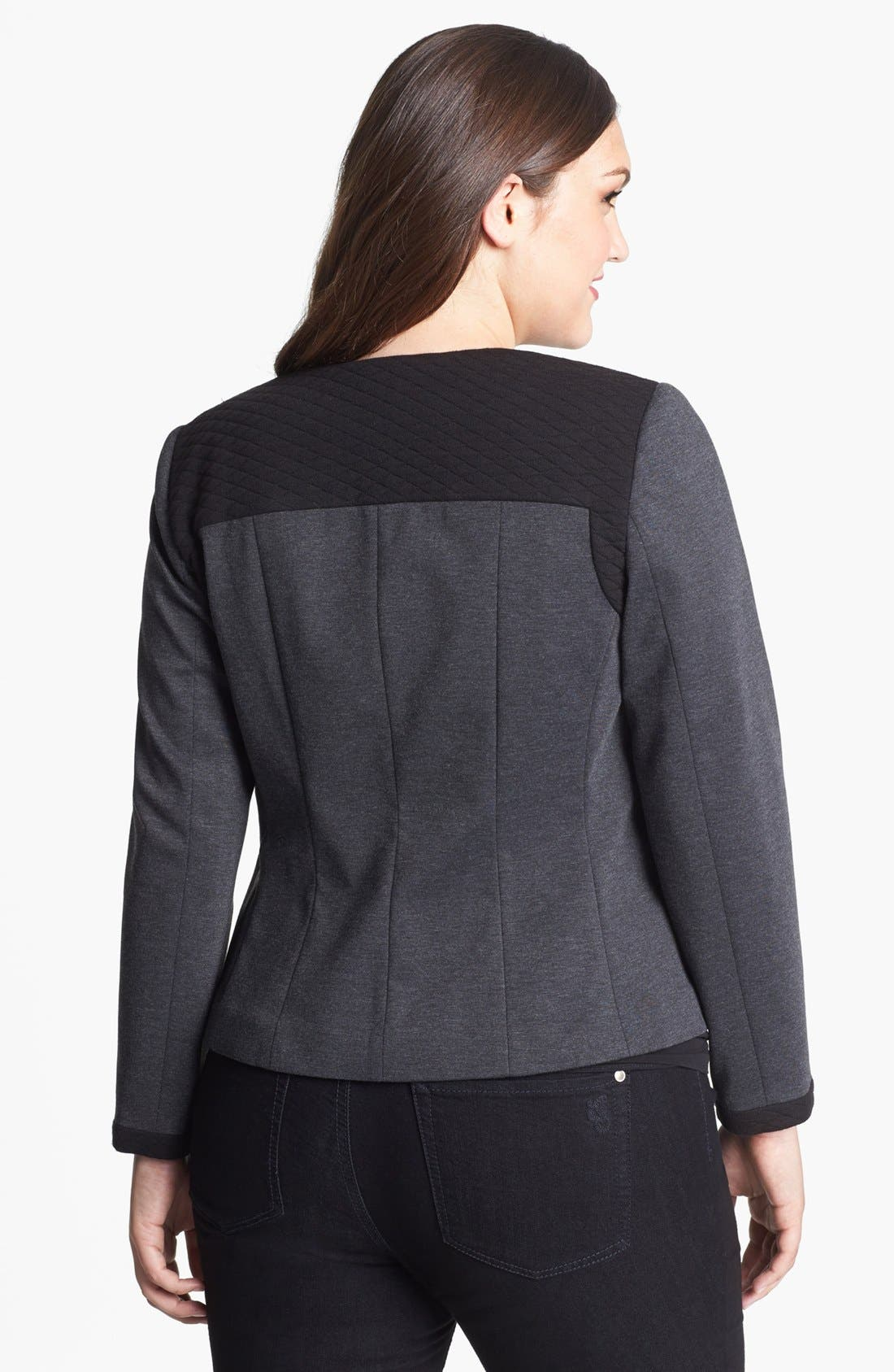 Alternate Image 2  - Sejour Mixed Media Jacket (Plus Size)
