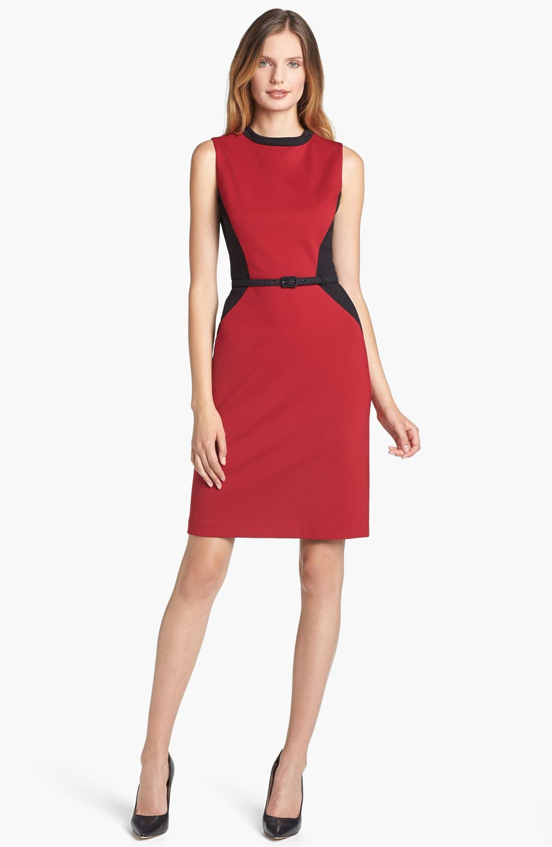 Main Image - Adrianna Papell Belted Colorblock Ponte Dress