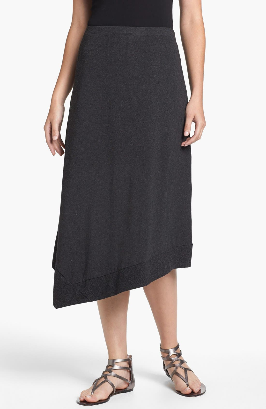 Main Image - Eileen Fisher Asymmetrical Jersey Midi Skirt