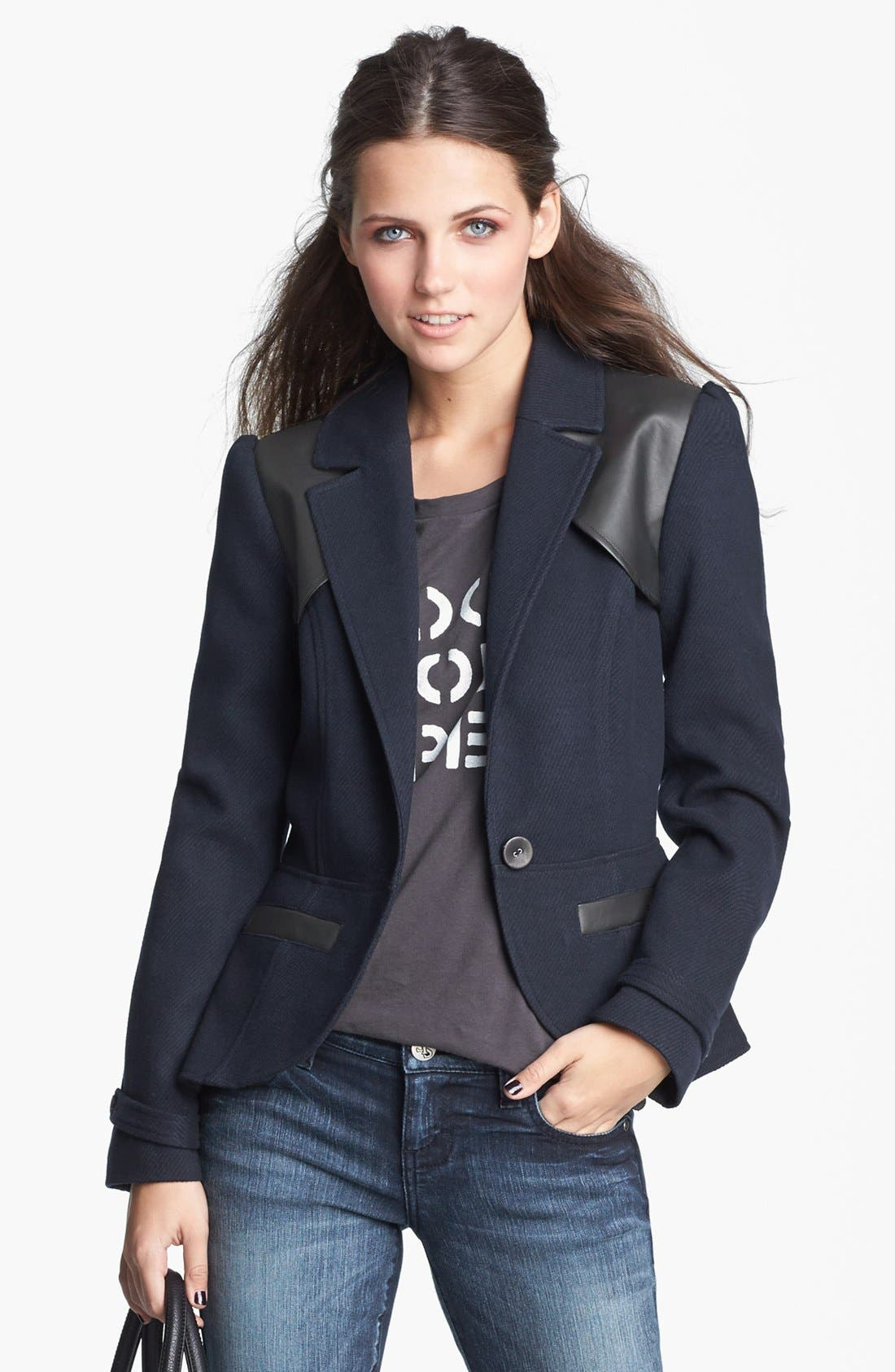 Alternate Image 1 Selected - Tulle Faux Leather Yoke Jacket (Juniors) (Online Only)