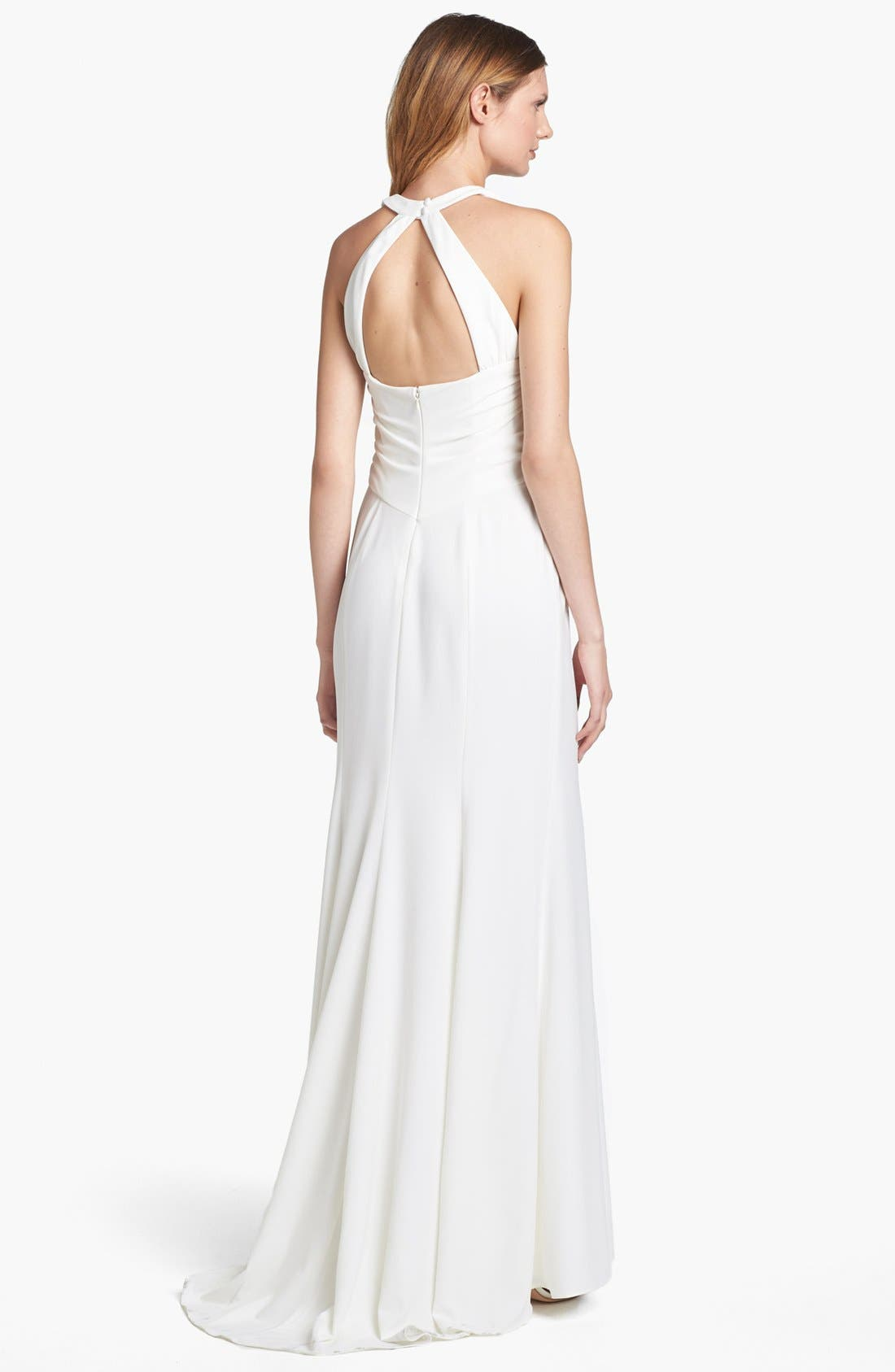 Alternate Image 2  - Adrianna Papell Mesh Inset Stretch Crepe Gown