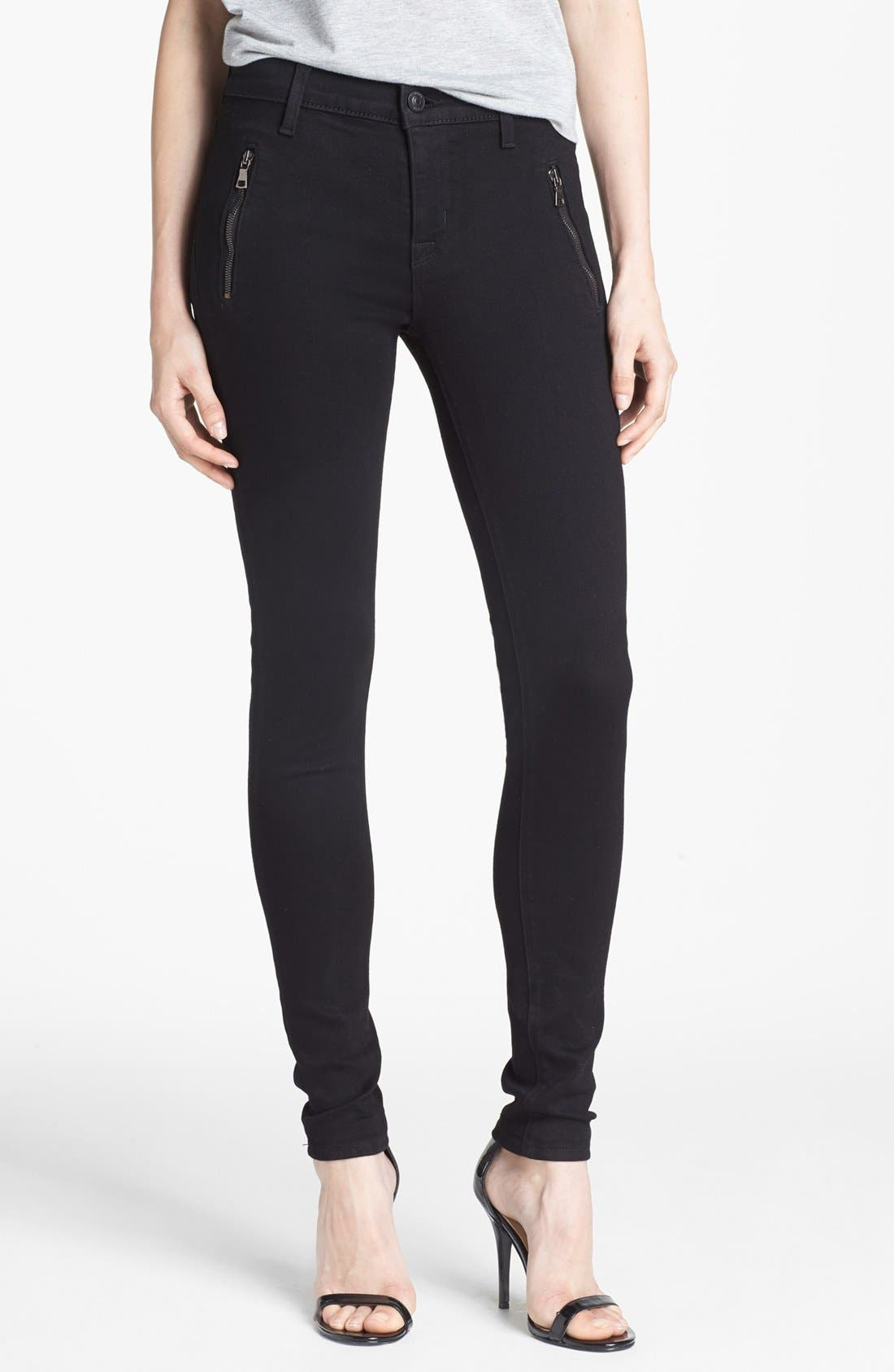 Alternate Image 1 Selected - Hudson Jeans 'Biker' Skinny Jeans (Black)