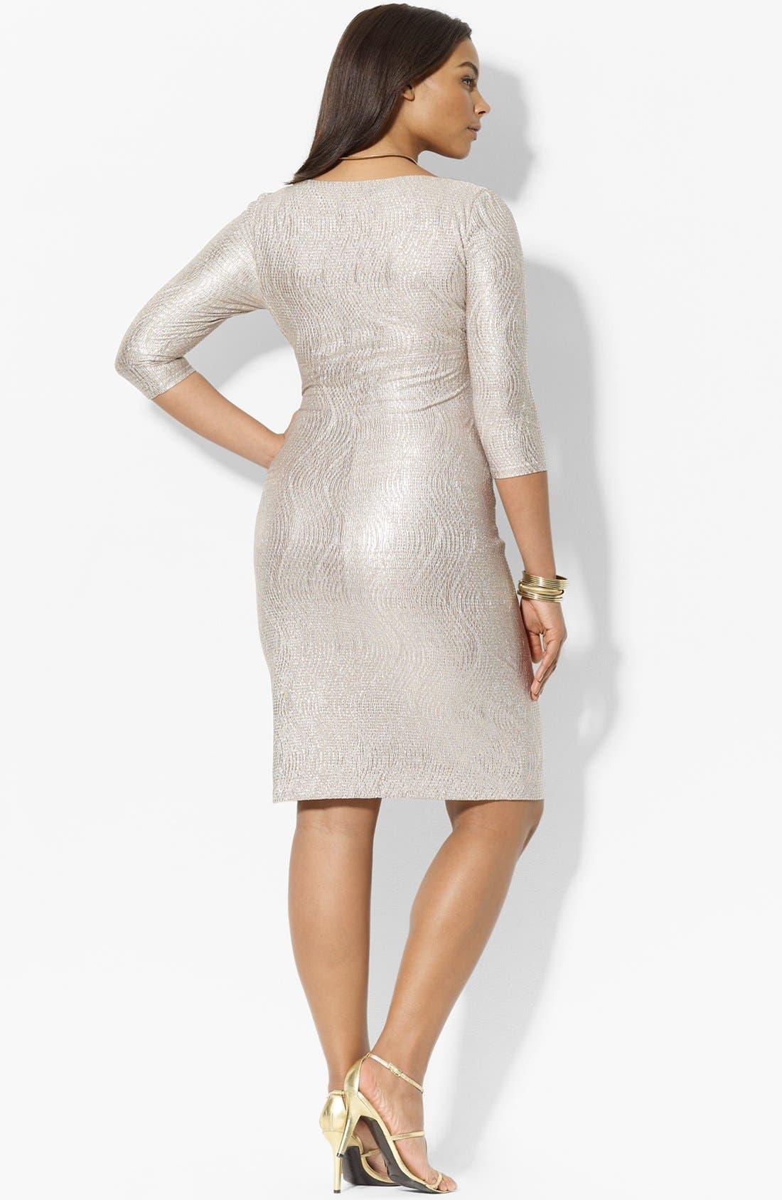 Alternate Image 2  - Lauren Ralph Lauren Metallic Jersey Dress (Plus Size)