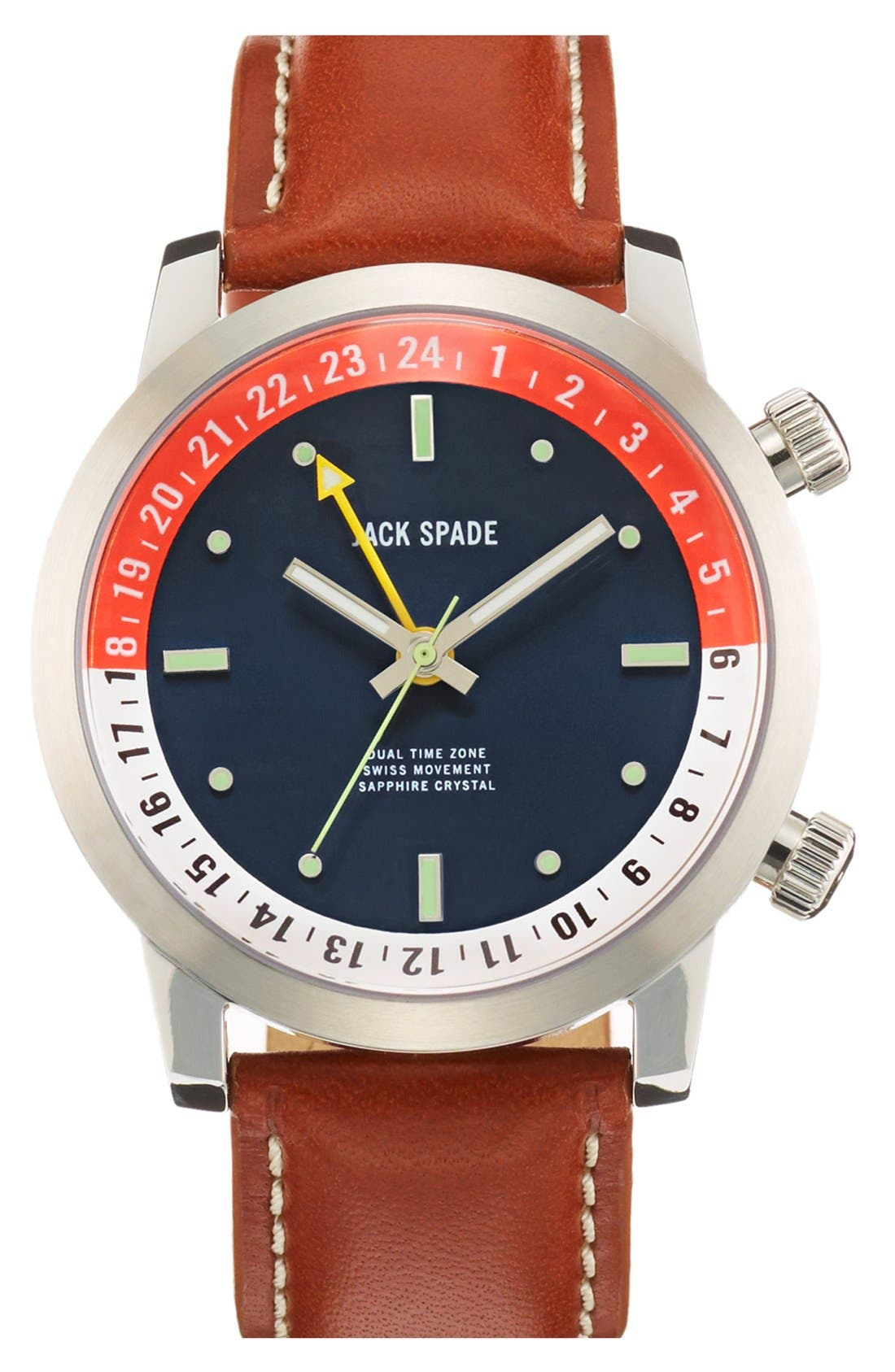 Alternate Image 1 Selected - Jack Spade 'Stanton' Dual Time Leather Strap Watch, 43mm