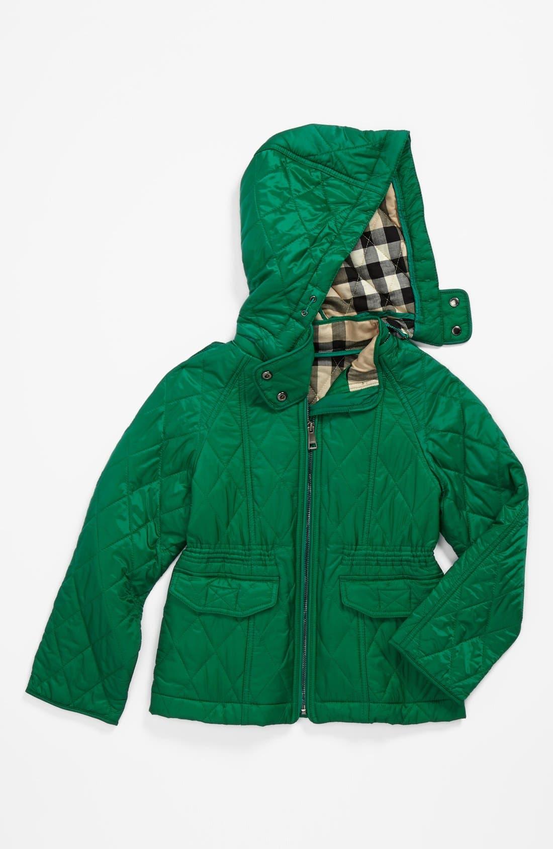 Alternate Image 1 Selected - Burberry 'Grandale' Hooded Waterproof Jacket (Little Girls & Big Girls)