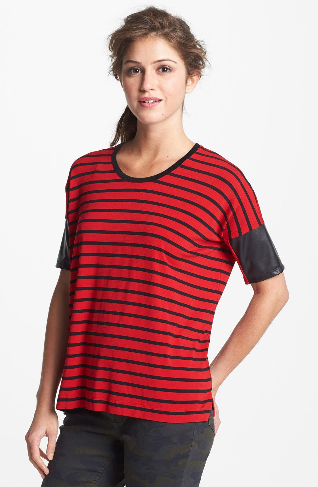 Alternate Image 1 Selected - Two by Vince Camuto Faux Leather Sleeve Stripe Tee