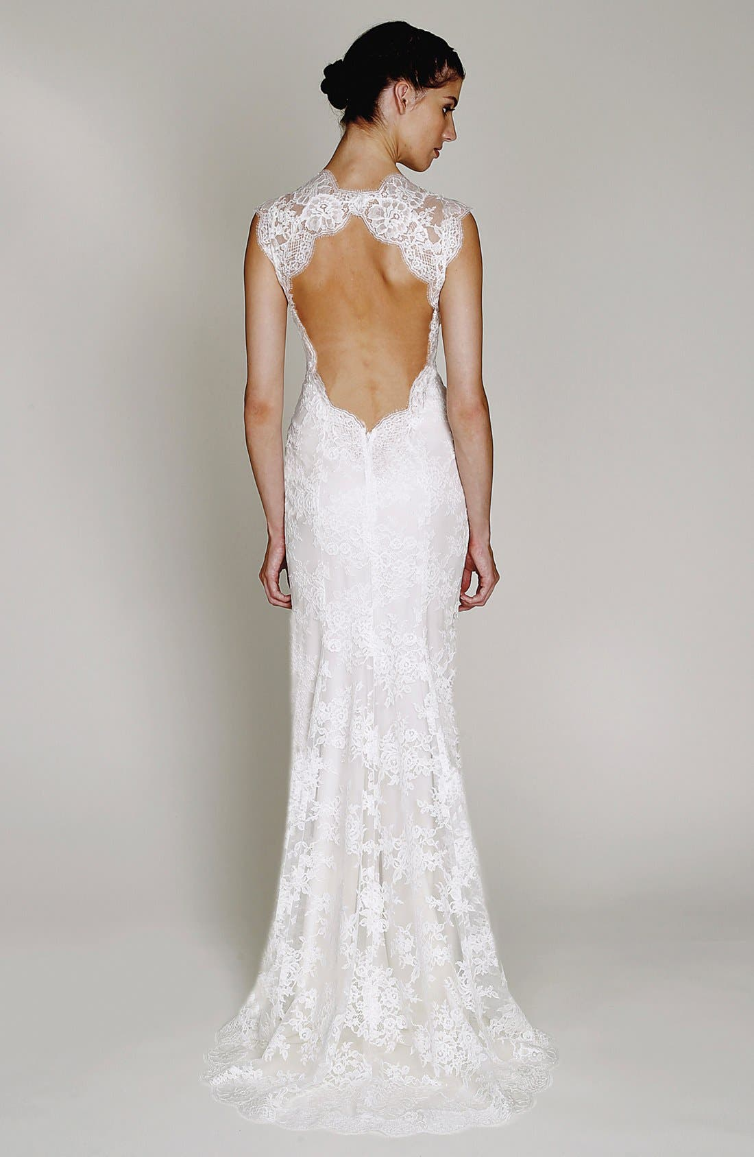 Alternate Image 2  - BLISS Monique Lhuillier Chantilly Lace Open Back Wedding Dress (In Stores Only)