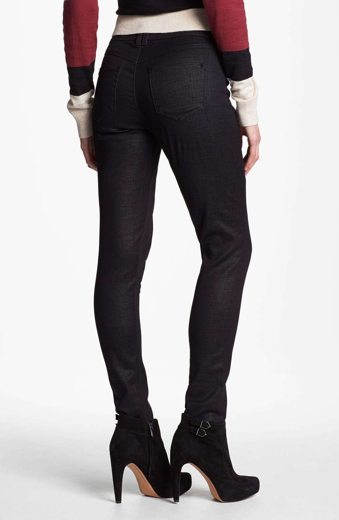 Alternate Image 2  - Wit & Wisdom Graphic Coated Skinny Jeans (Black) (Nordstrom Exclusive)