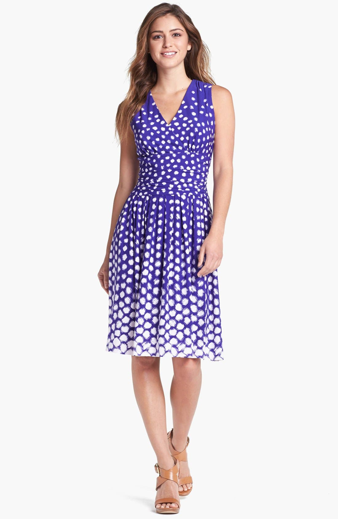 Main Image - Eliza J Dot Print Fit & Flare Dress