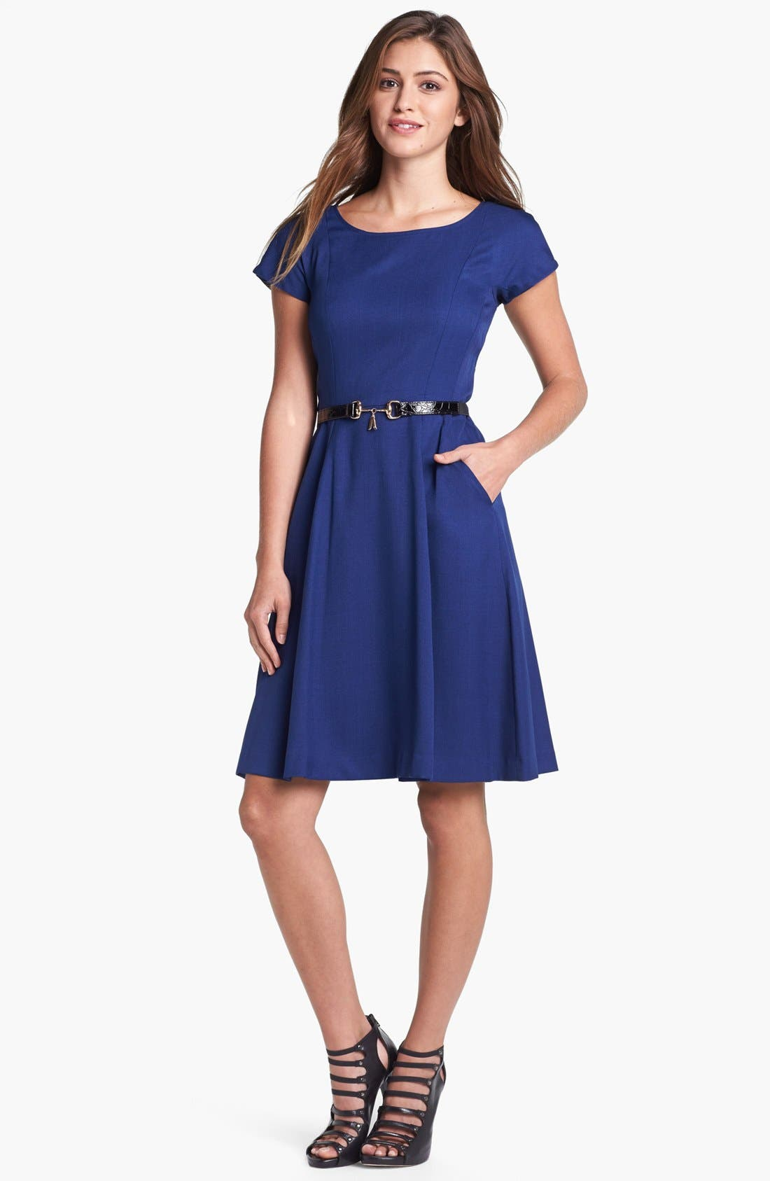 Main Image - Ellen Tracy Cap Sleeve Fit & Flare Dress