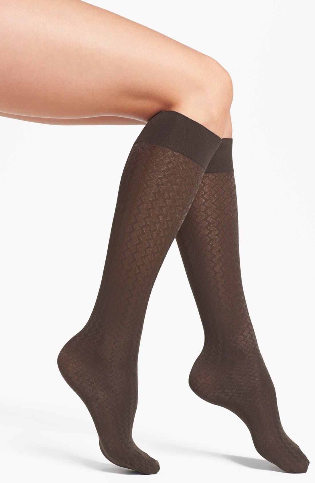 Alternate Image 1 Selected - Wolford 'Cross Lines' Knee High Socks