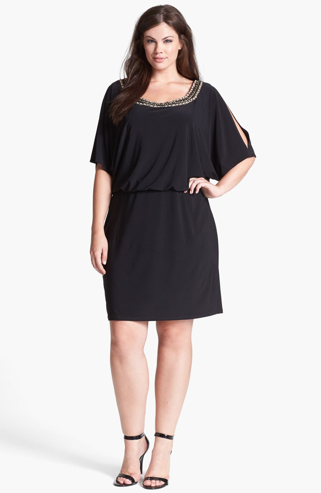 Main Image - Xscape Embellished Cold Shoulder Jersey Blouson Dress (Plus Size)