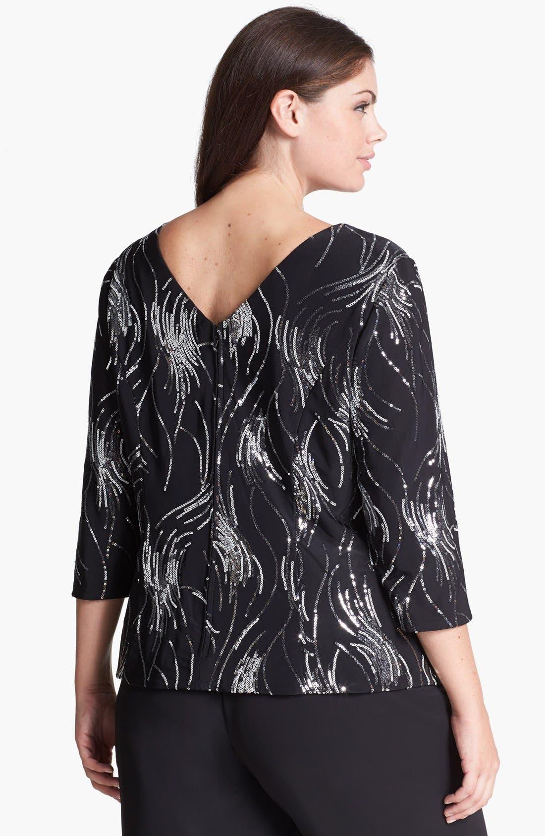 Alternate Image 2  - Alex Evenings Sequin Embellished Blouse (Plus Size)