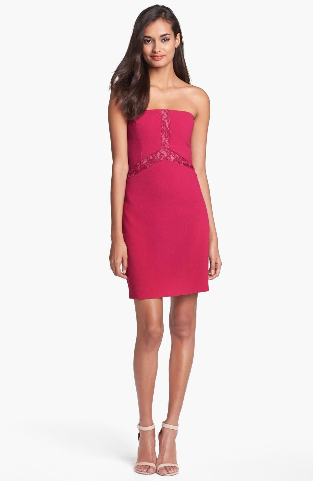 Alternate Image 1 Selected - Max & Cleo Lace Inset Crepe Sheath Dress
