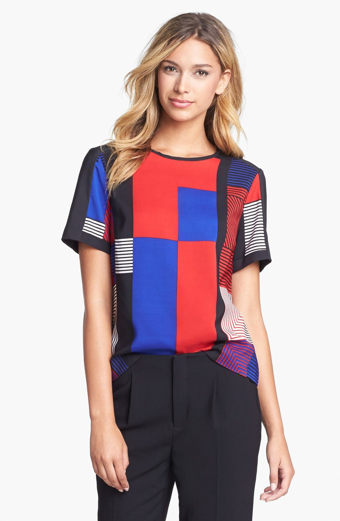 Main Image - Vince Camuto Patchwork Colorblock Woven Top