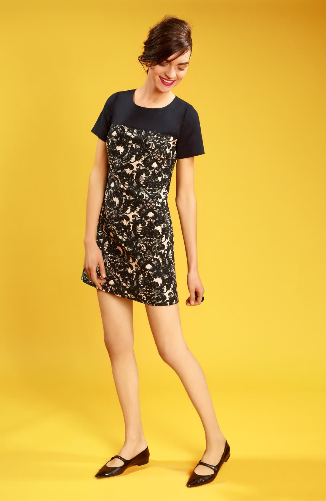 Alternate Image 4  - Miss Wu 'Vera' Lace Print Colorblock Dress (Nordstrom Exclusive)