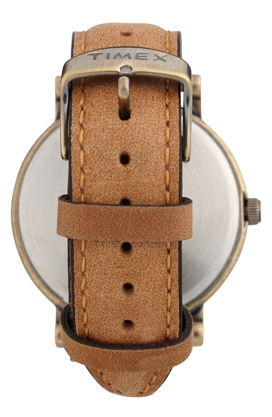 Alternate Image 2  - Timex® Antiqued Case & Leather Strap Watch, 42mm