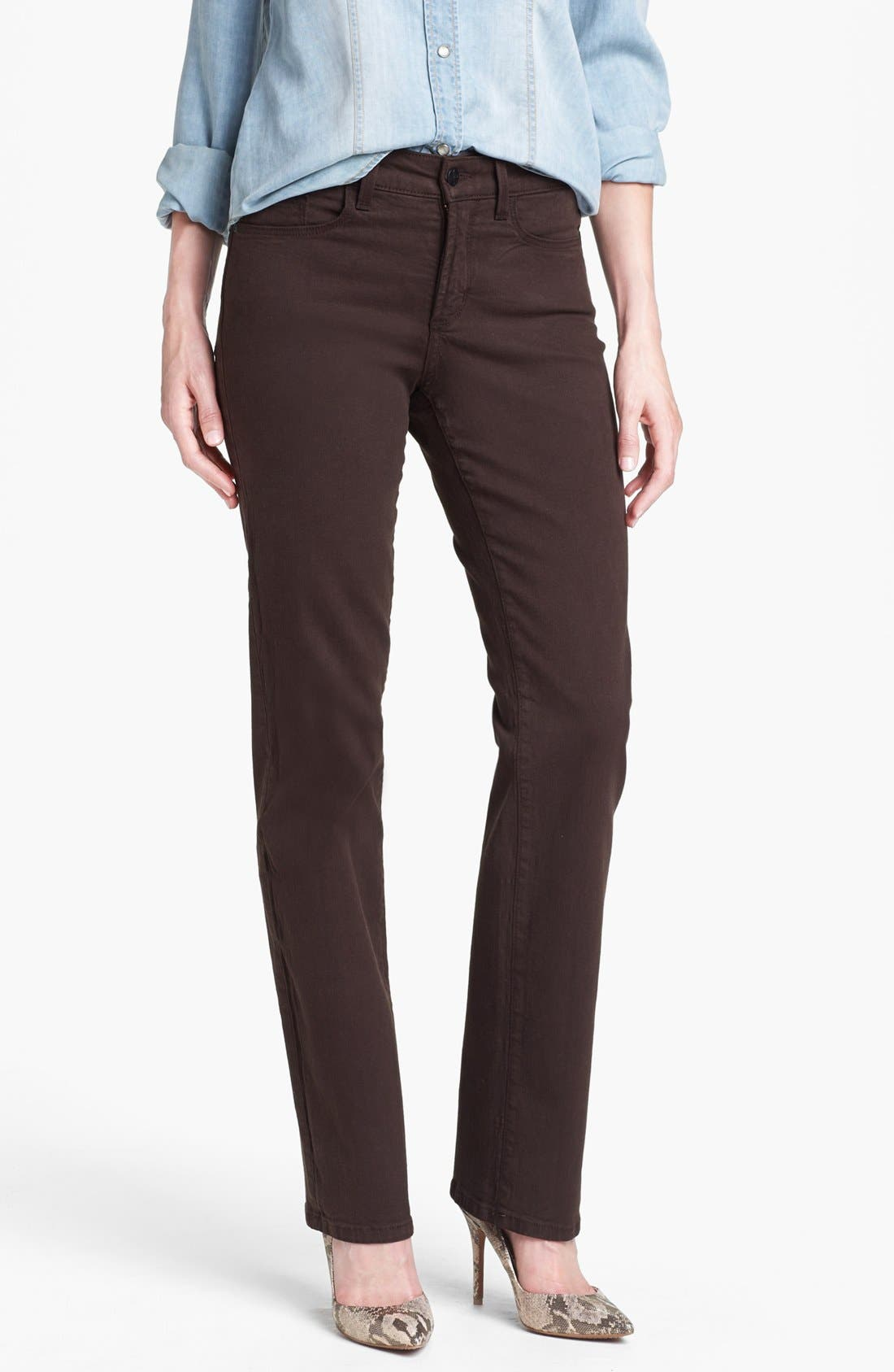 Alternate Image 1 Selected - NYDJ 'Marilyn' Embellished Pocket Stretch Straight Leg Jeans (Ganache) (Regular & Petite)