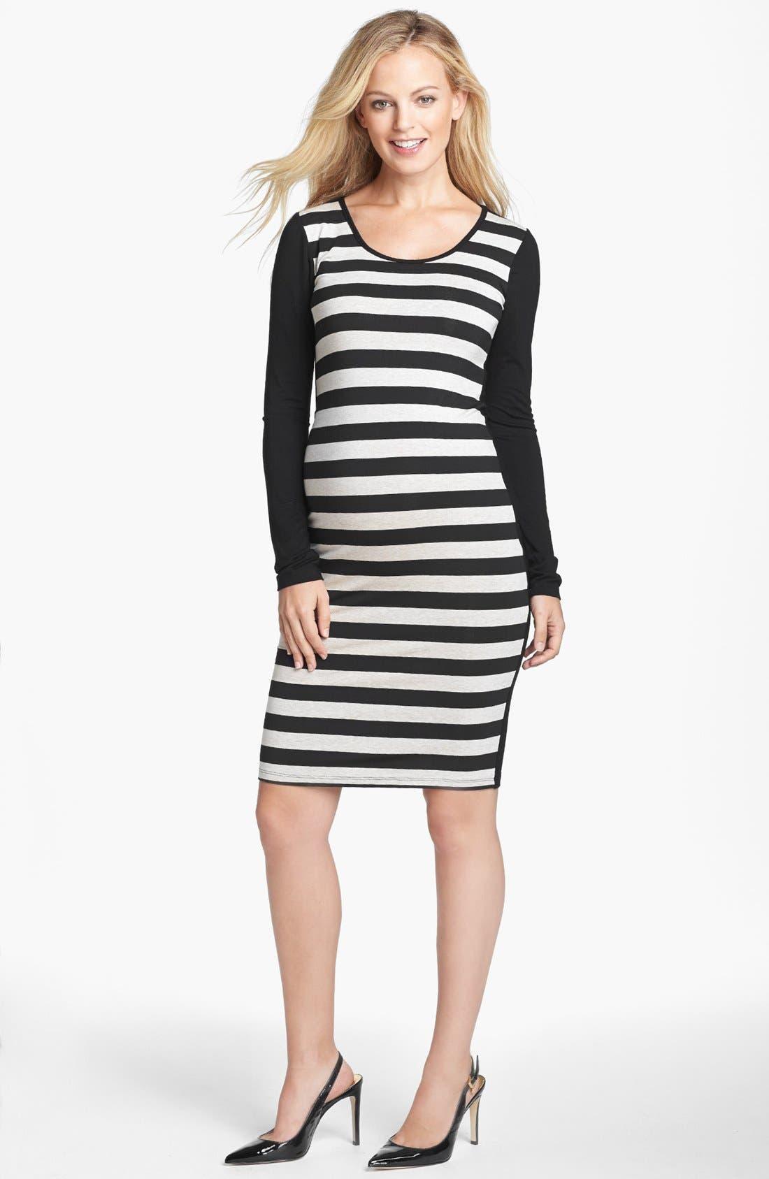 Main Image - Nom Maternity 'Krystal' Stripe Maternity Dress