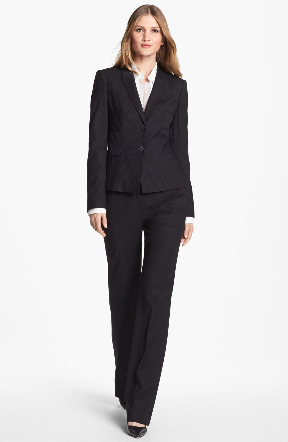 Alternate Image 4  - BOSS HUGO BOSS 'Bashinovel' Organza Trim V-Neck Fitted Blouse