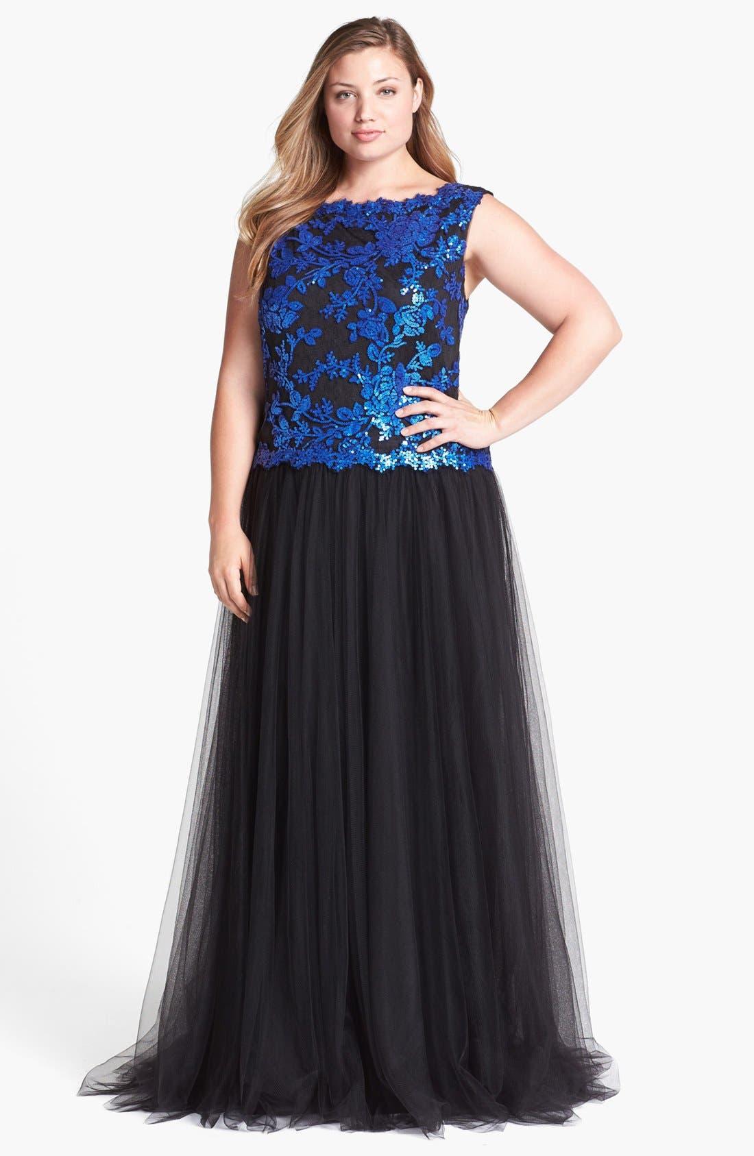 Alternate Image 1 Selected - Tadashi Shoji Embellished Lace & Tulle Gown (Plus Size)