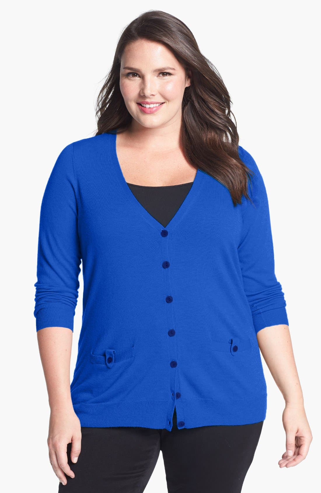 Alternate Image 1 Selected - Sejour 'Fine Dine' Merino Wool Cardigan (Plus Size)