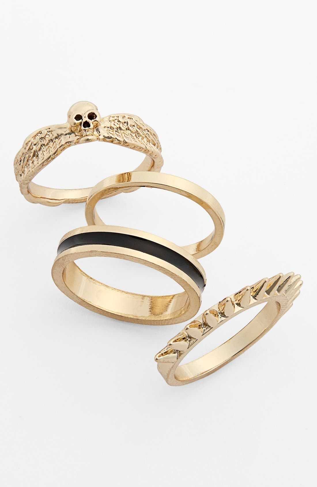 Main Image - Metal Haven by KENDALL + KYLIE Stackable Rings (Set of 4) (Juniors) (Nordstrom Exclusive)