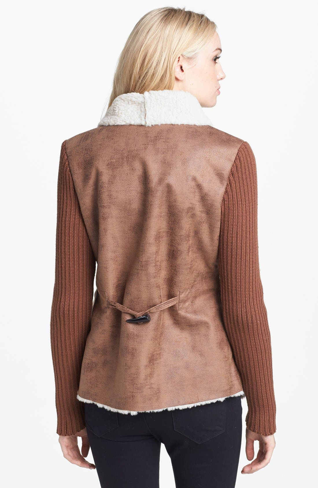 Alternate Image 2  - Sam Edelman Knit Sleeve Faux Shearling Jacket (Online Only)