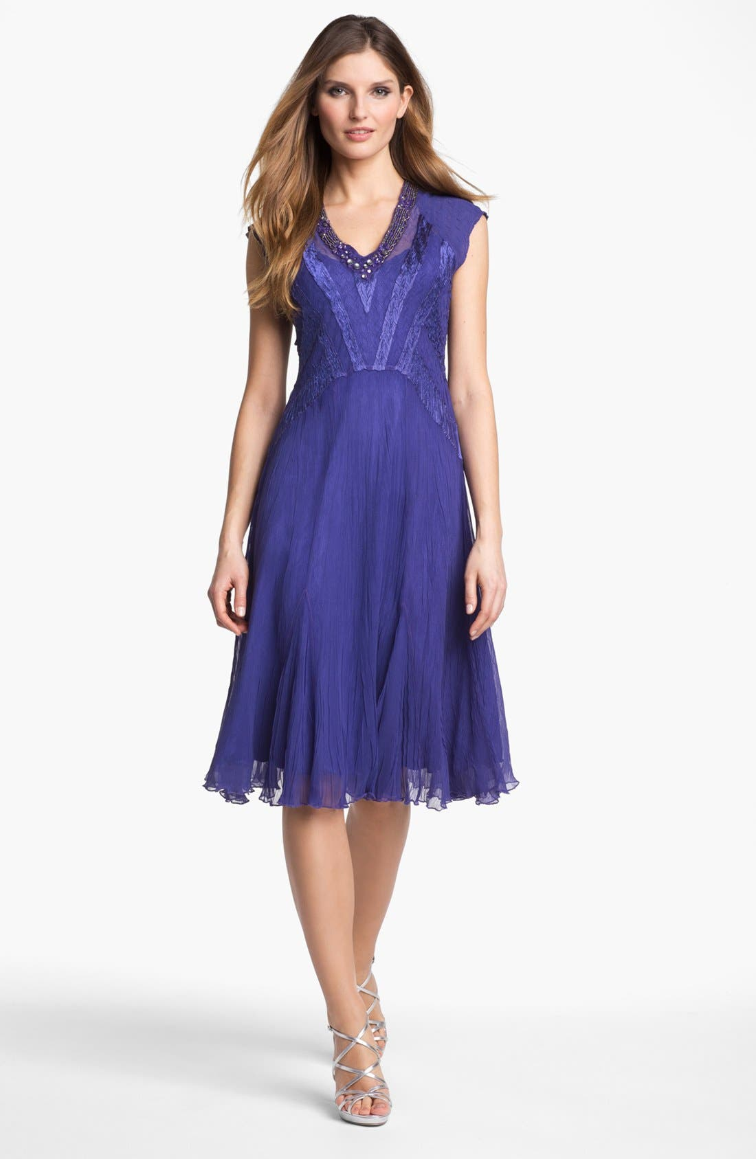 Main Image - Komarov Embellished Textured Chiffon Dress (Petite)