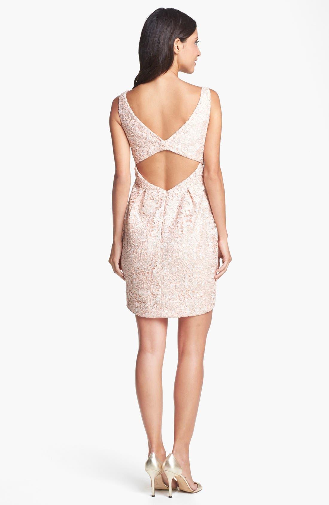 Alternate Image 2  - Aidan Mattox Lace Sheath Dress (Online Only)