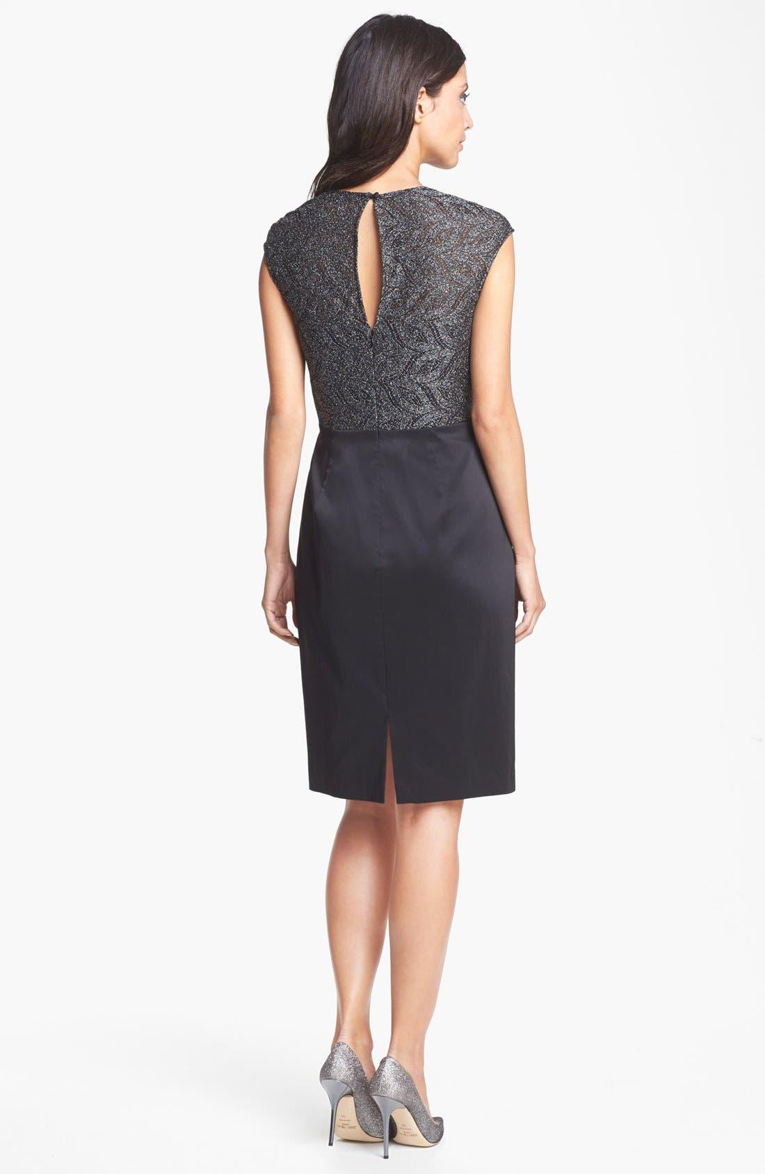 Alternate Image 2  - Maggy London Metallic Lace & Draped Taffeta Sheath Dress