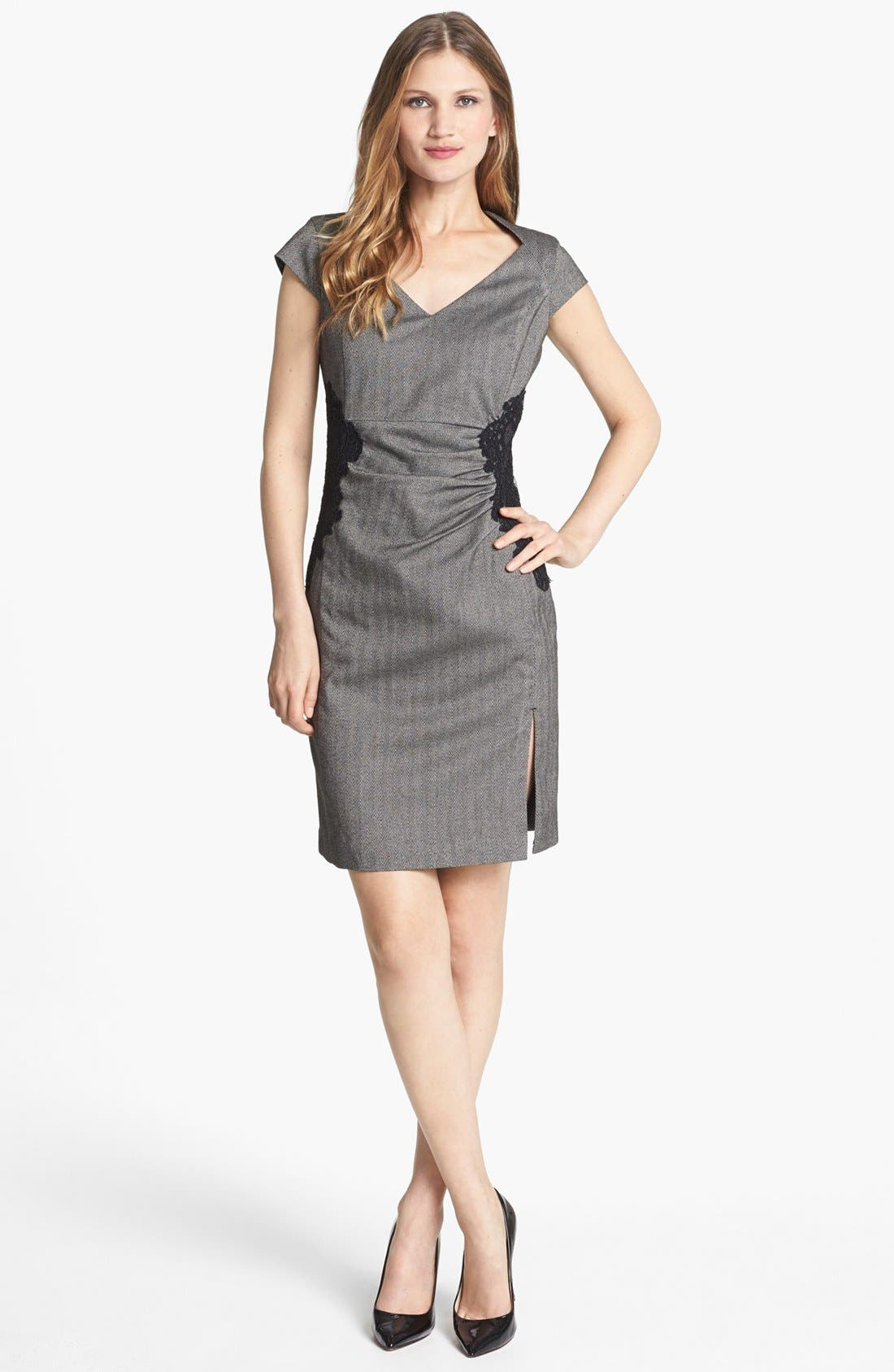 Alternate Image 1 Selected - Adrianna Papell Lace Appliqué Sheath Dress