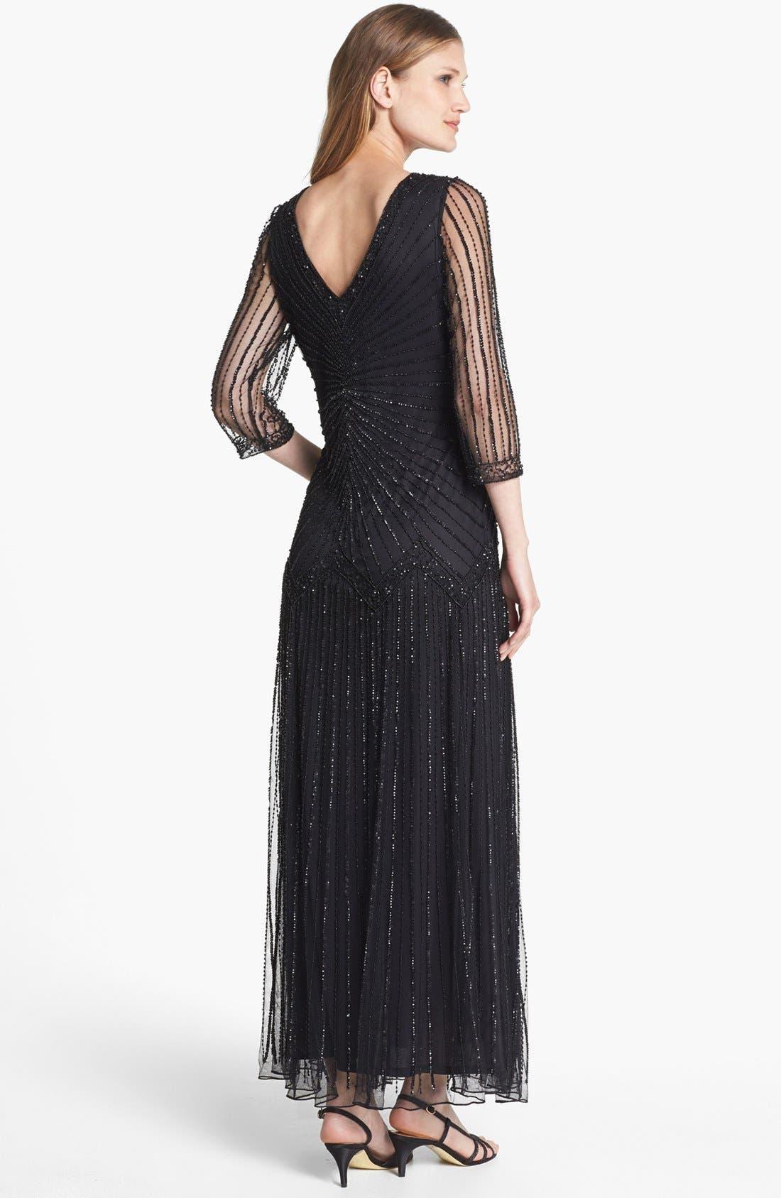 Alternate Image 2  - Pisarro Nights Embellished Illusion Sleeve Mesh Gown