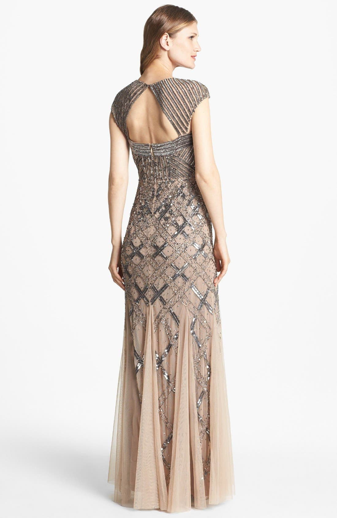Alternate Image 2  - Adrianna Papell Embellished Mesh Mermaid Gown (Regular & Petite)