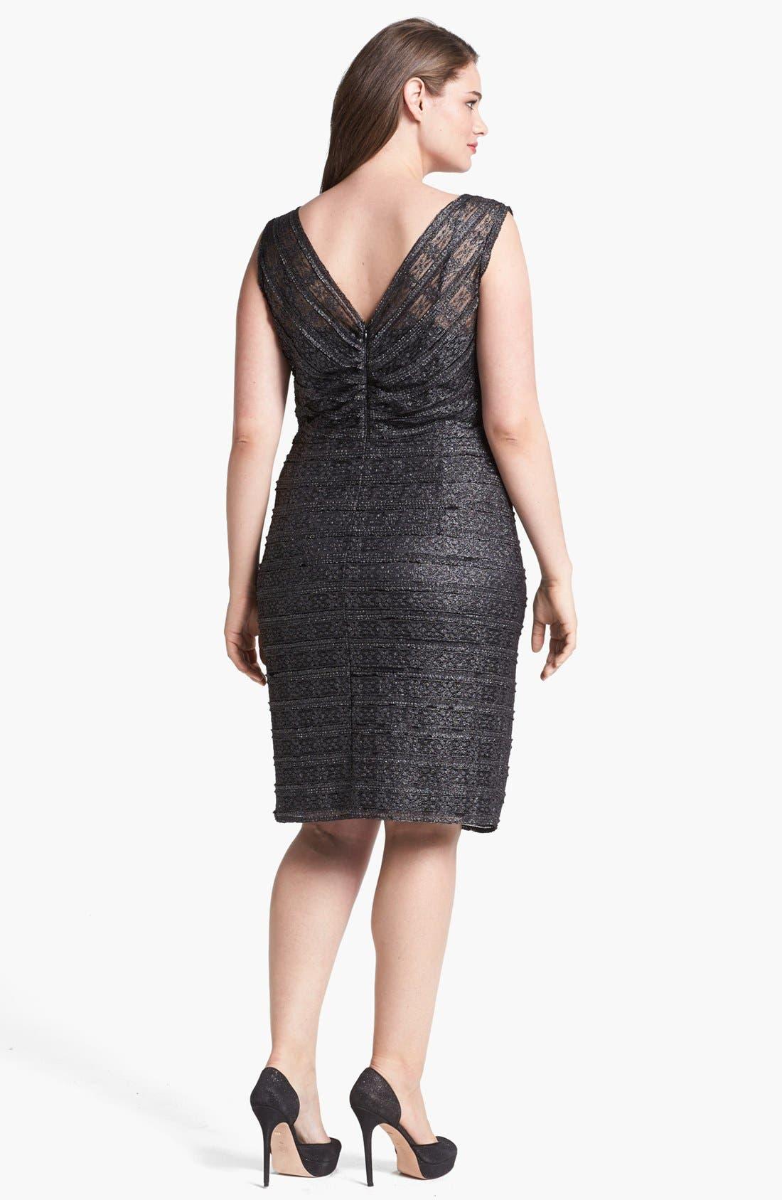 Alternate Image 2  - Calvin Klein Metallic Lace Sheath Dress (Plus Size)