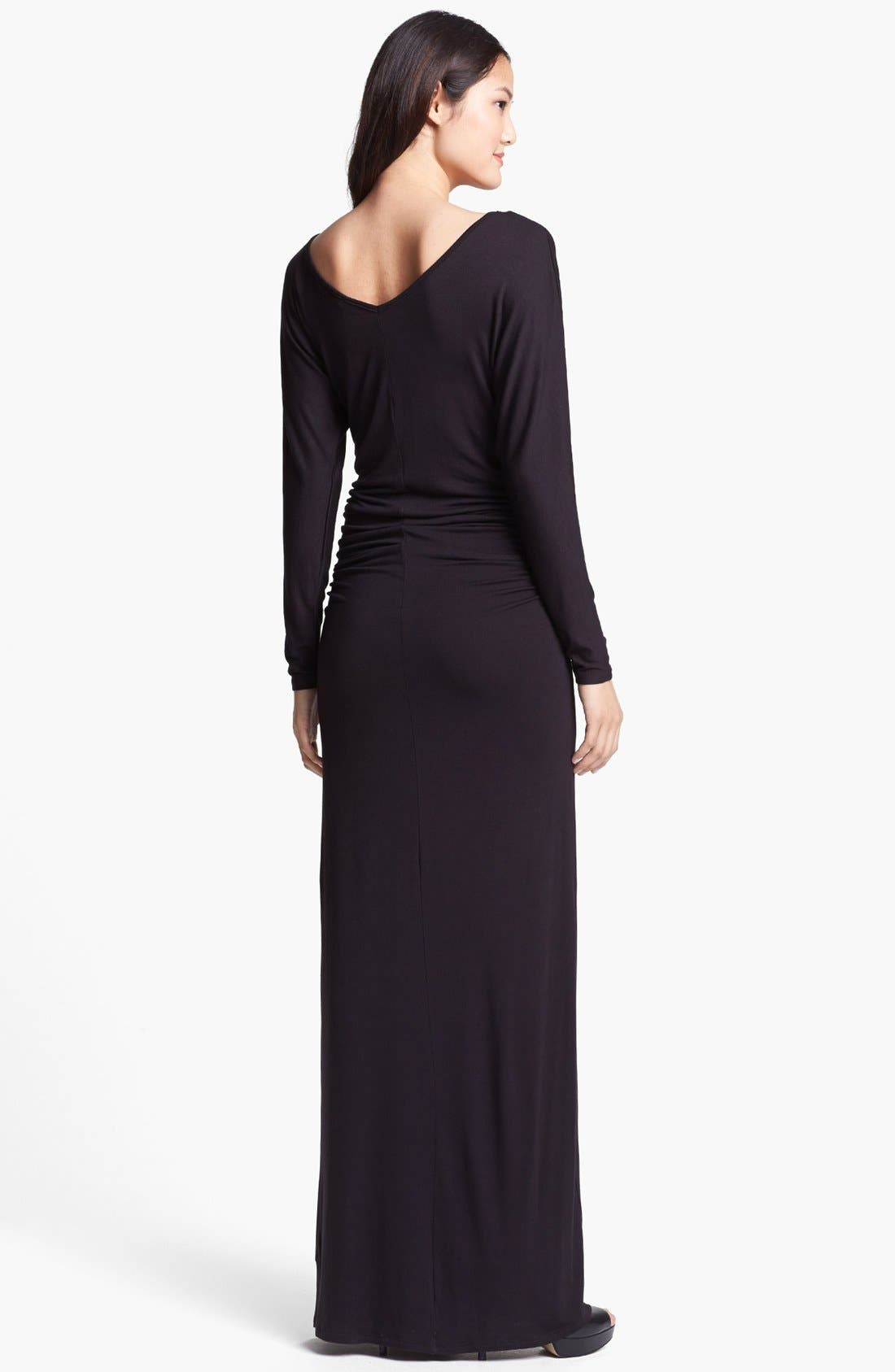 Alternate Image 2  - Loveappella Dolman Sleeve Ruched Maxi Dress (Petite)