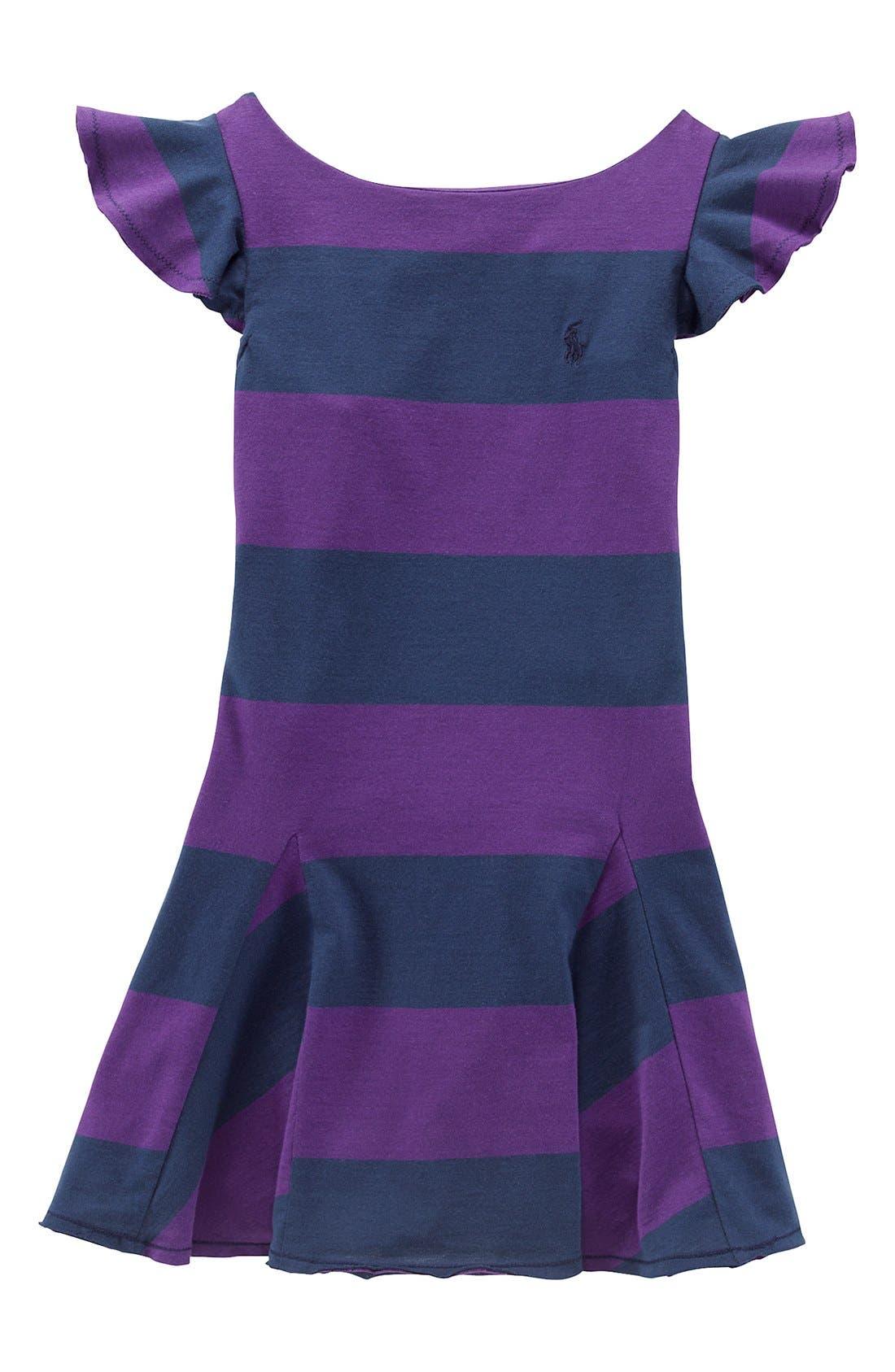 Alternate Image 1 Selected - Ralph Lauren Flutter Sleeve Dress (Toddler Girls)