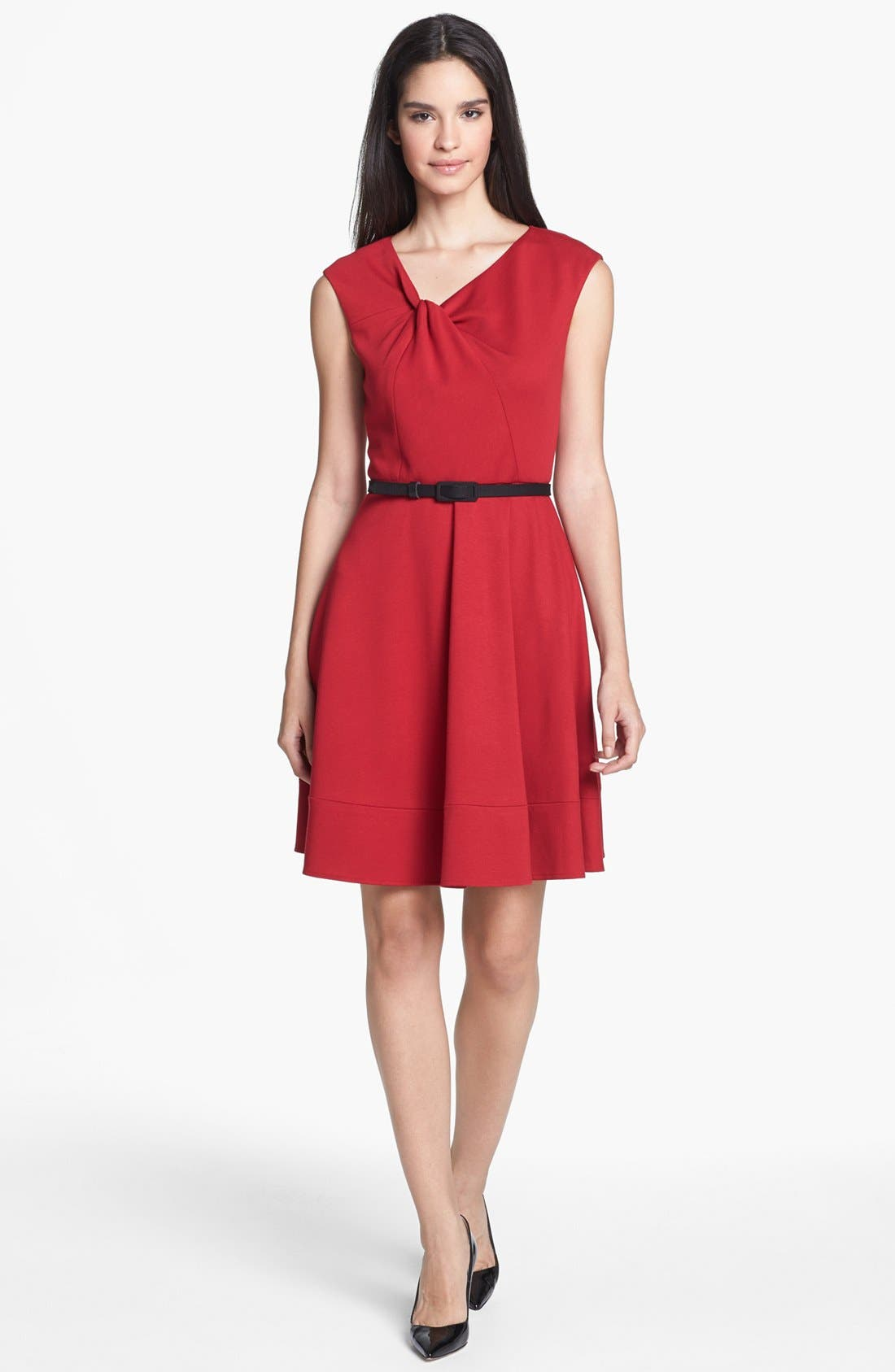Main Image - Eliza J Twist Neck Fit & Flare Dress