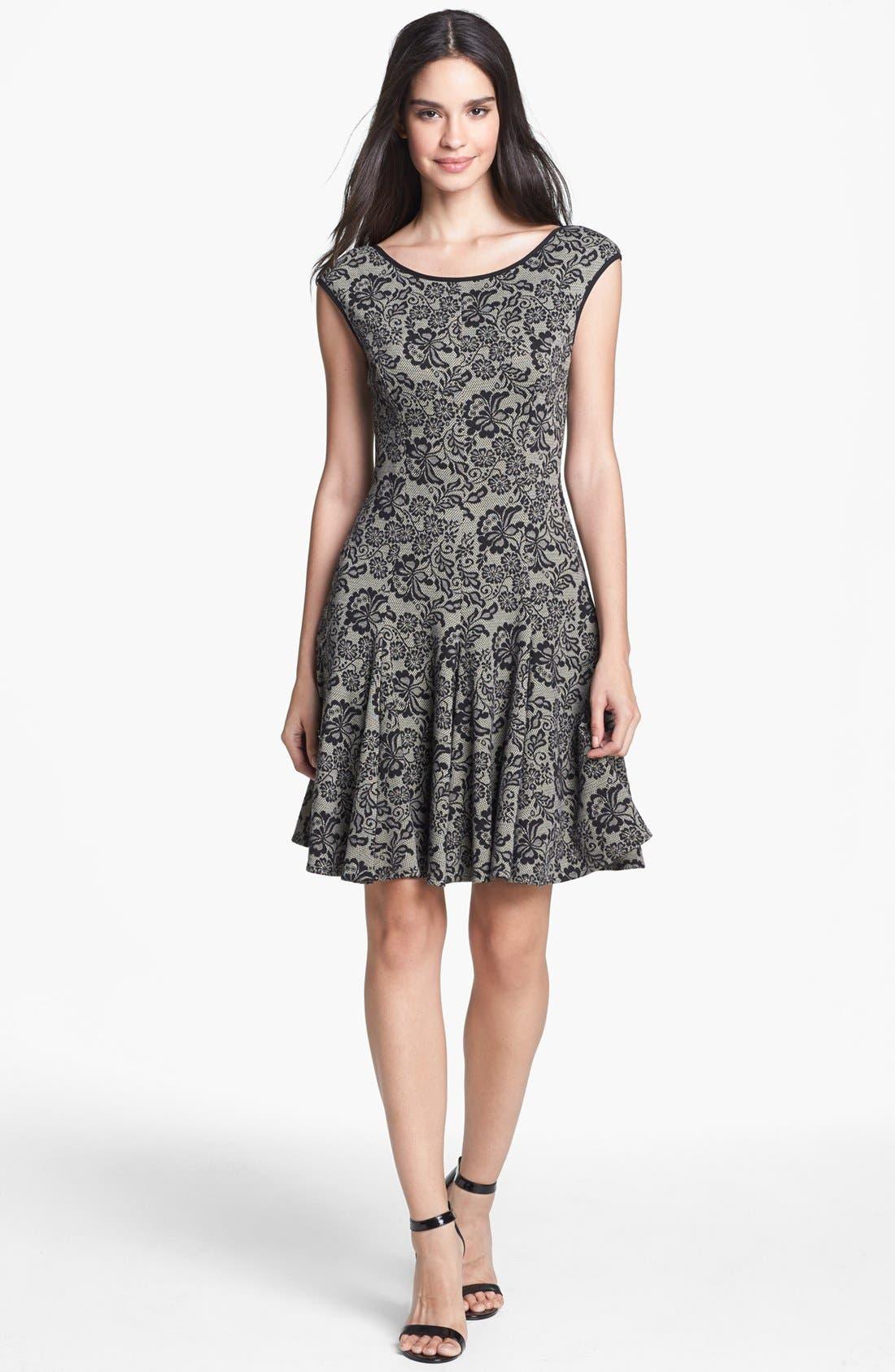 Main Image - Maggy London Lace Print Jacquard Fit & Flare Dress (Petite)