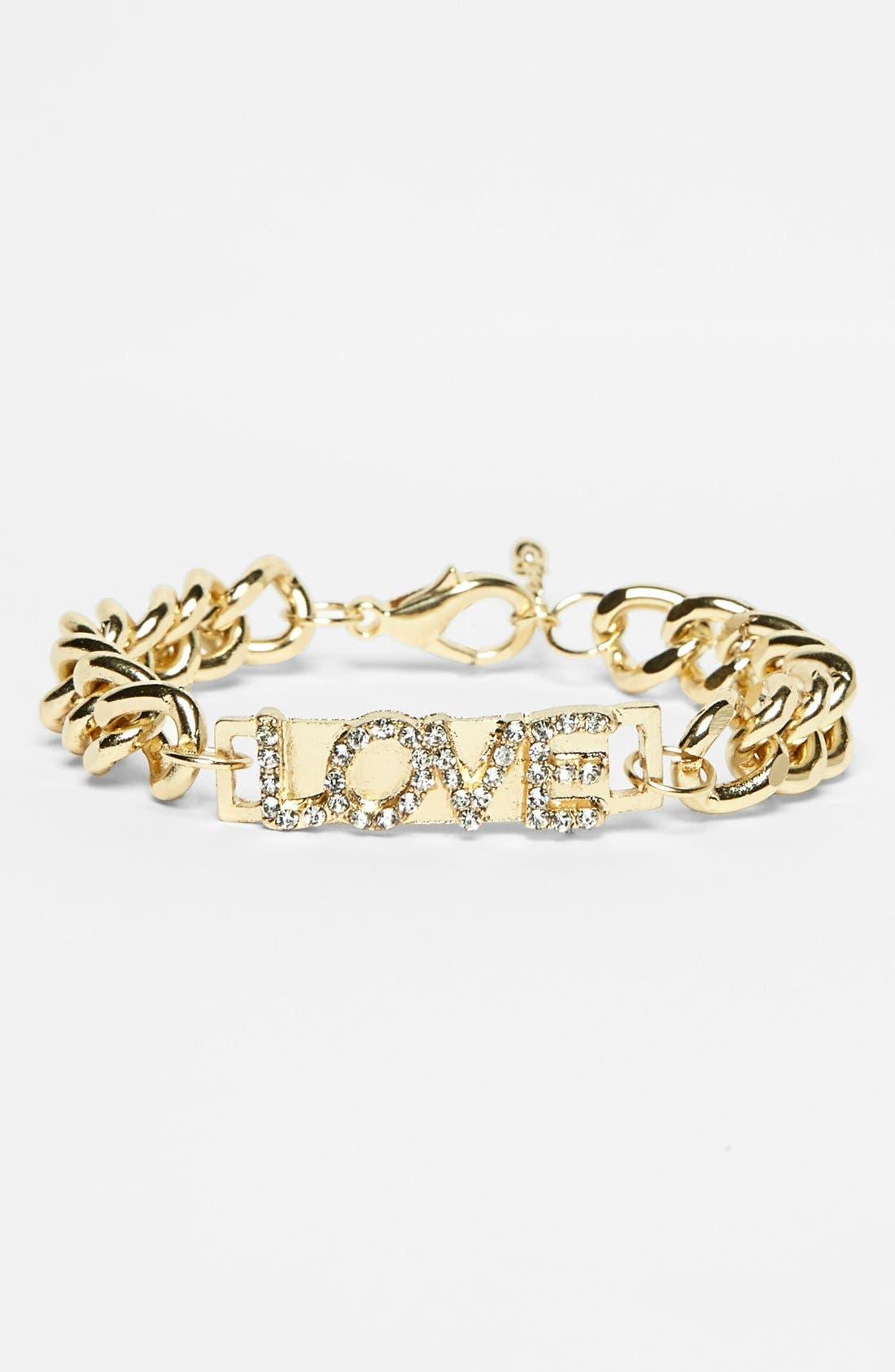 Alternate Image 1 Selected - Stephan & Co. 'Love' Chain Link Bracelet (Juniors) (Online Only)