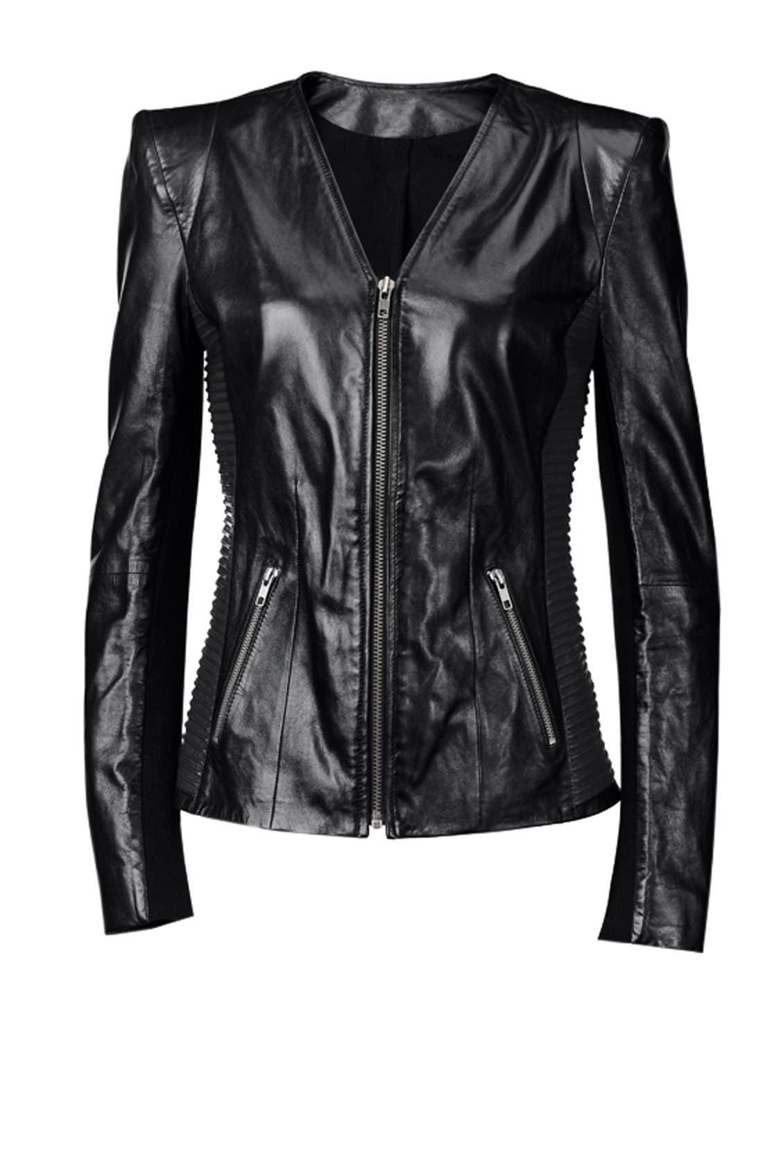Alternate Image 7  - Trouvé Power Shoulder Leather Jacket