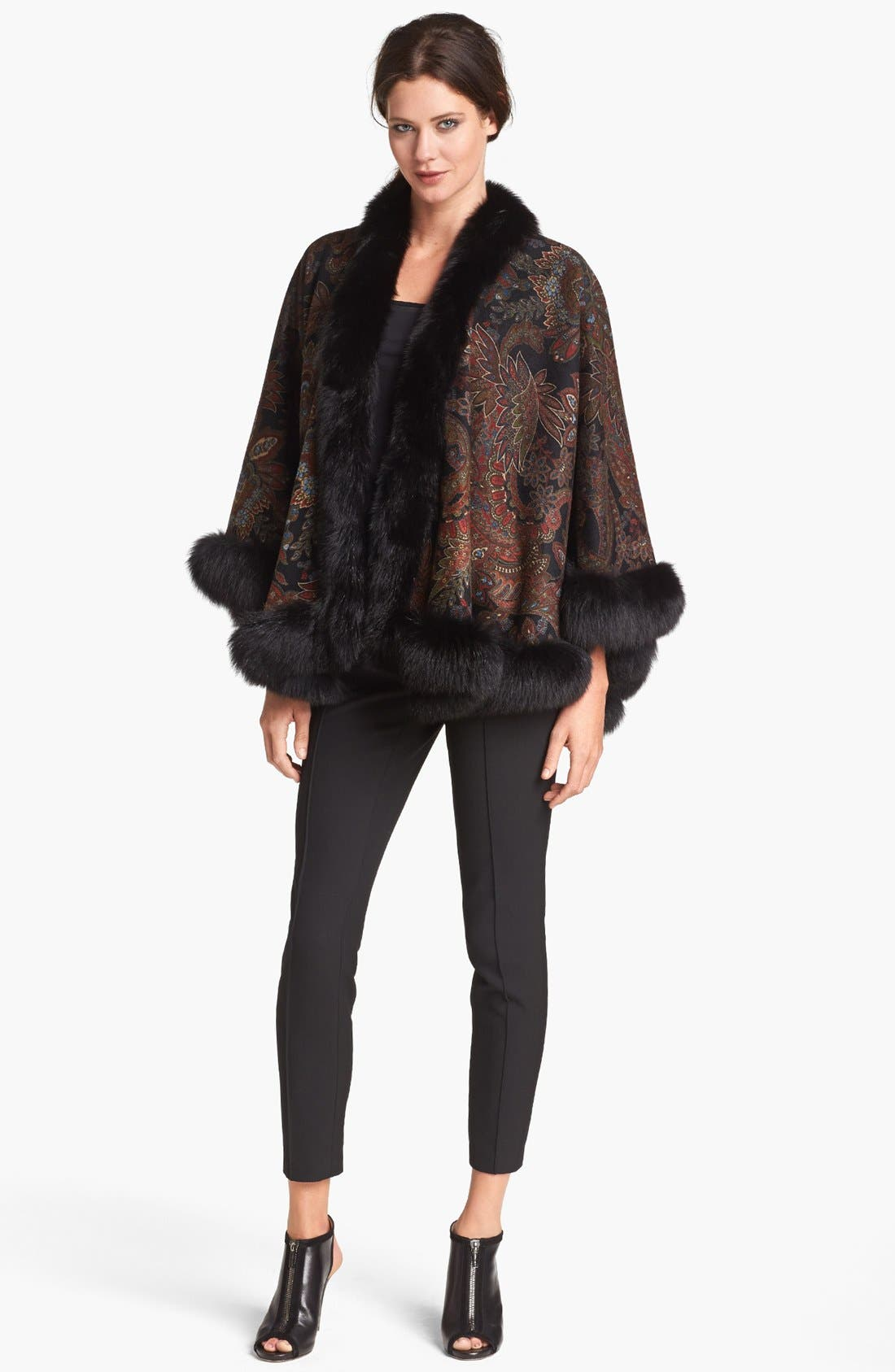 Alternate Image 1 Selected - Sofia Cashmere Genuine Fox Fur Trim Paisley Cashmere Cape