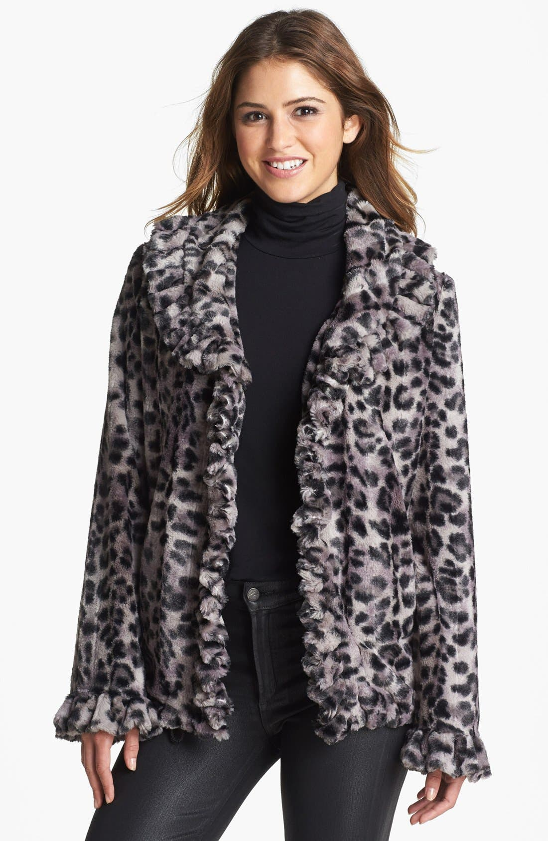 Main Image - Damselle Ruffle Trim Faux Fur Jacket (Online Only)