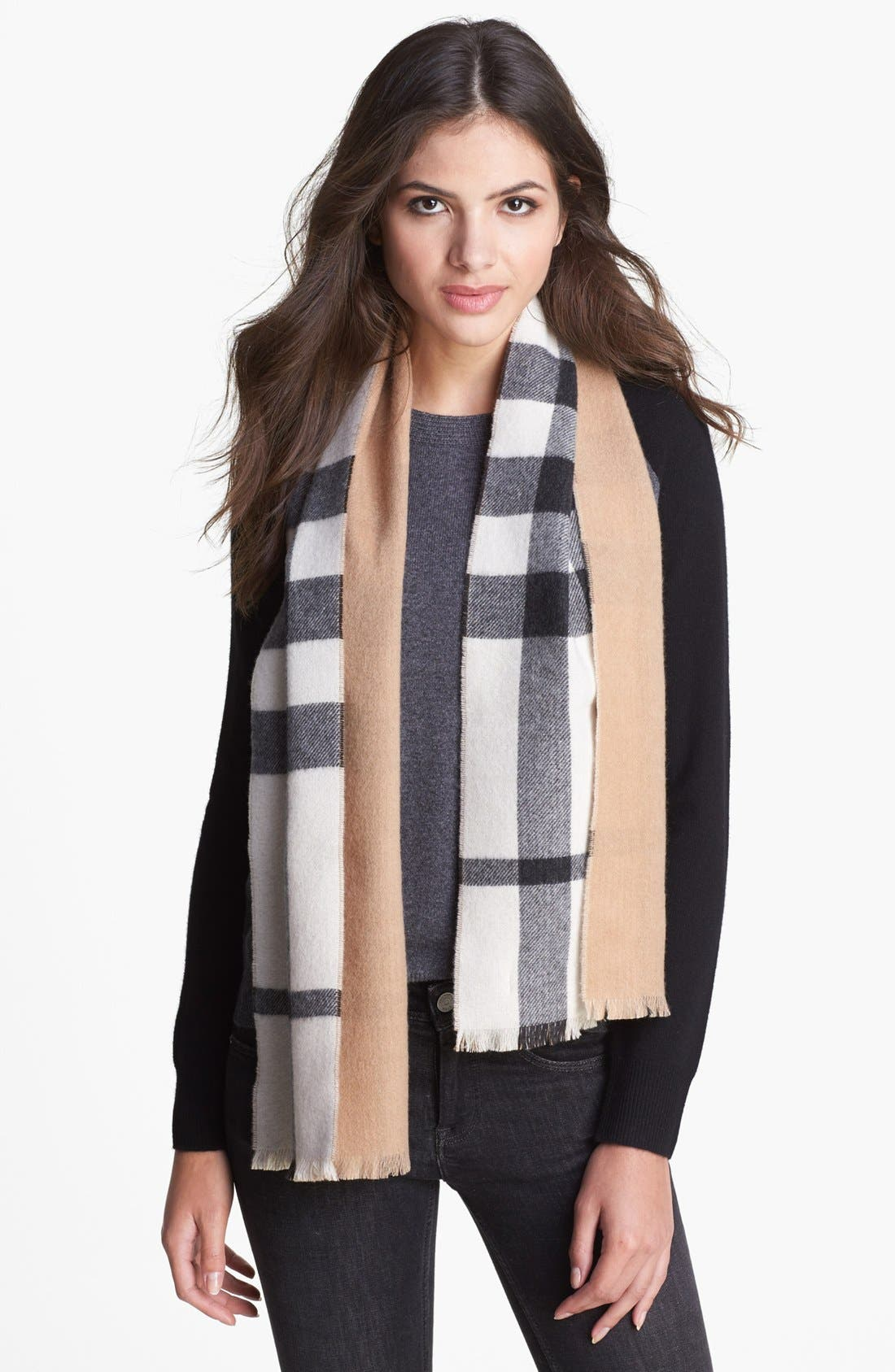 Alternate Image 1 Selected - Burberry Tonal Check Cashmere Scarf