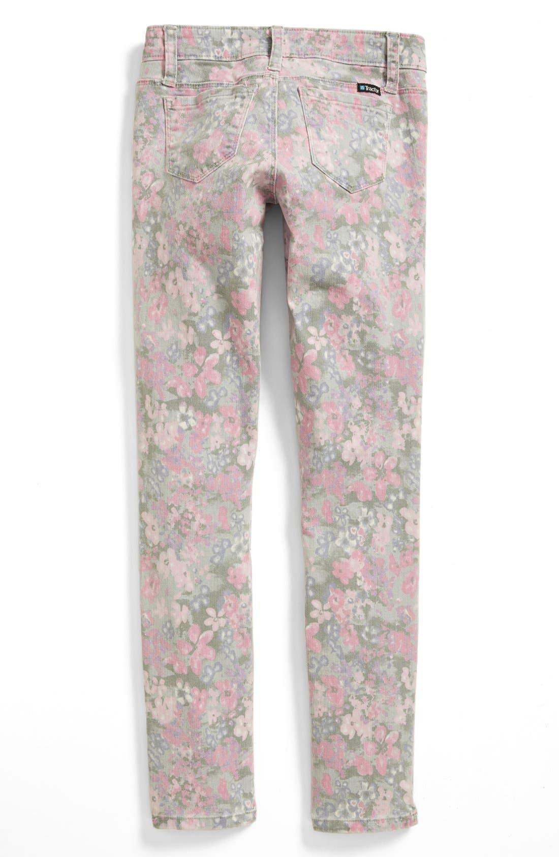 Alternate Image 1 Selected - Tractor Floral Print Denim Pants (Big Girls)