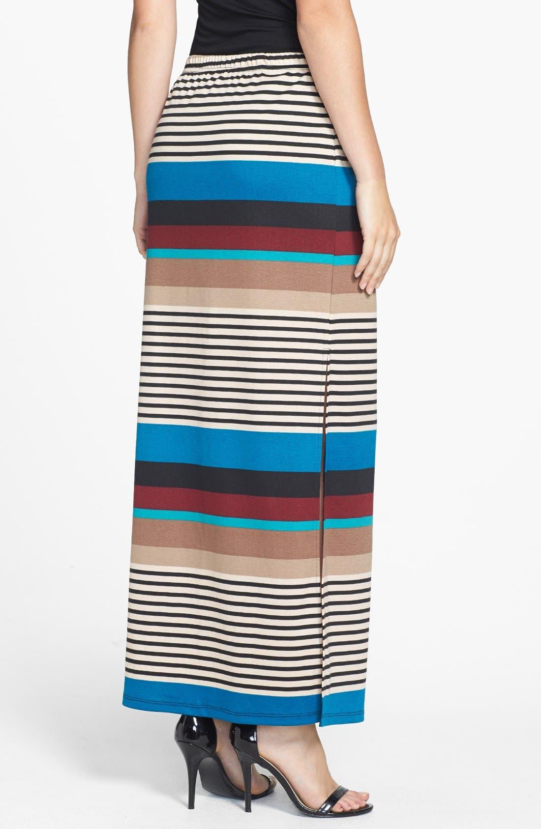 Alternate Image 2  - Olive & Oak Variegated Stripe Side Slit Maxi Skirt