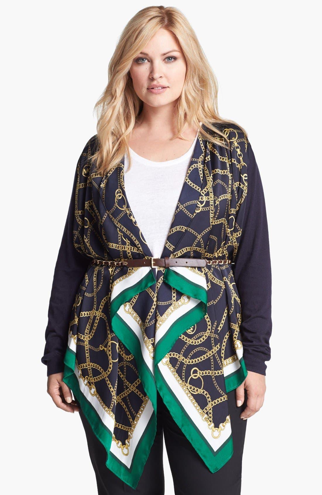 Main Image - MICHAEL Michael Kors Woven Front Cardigan (Plus Size)