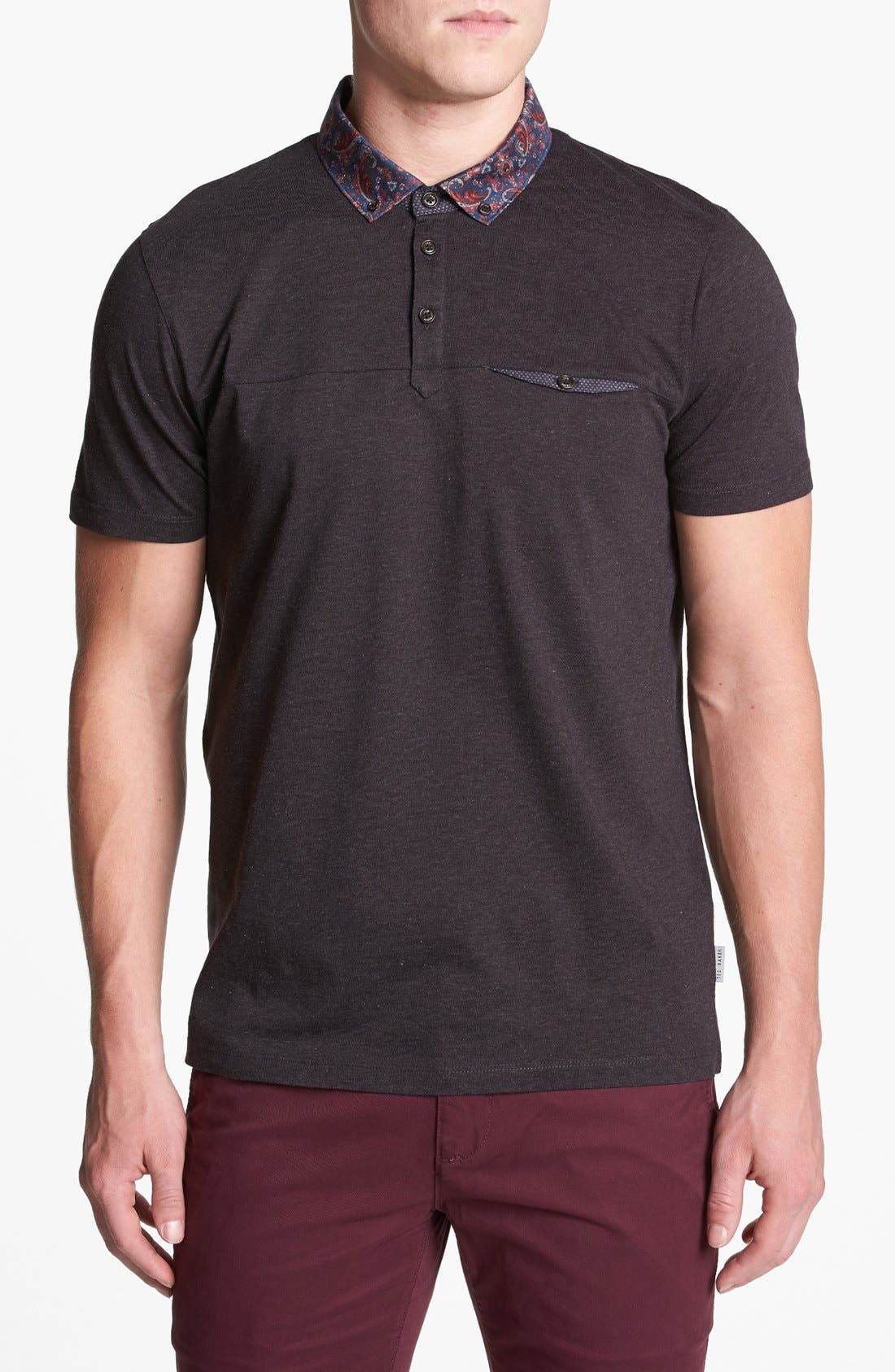 Main Image - Ted Baker London Woven Collar Polo Shirt